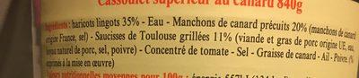Cassoulet au canard - Ingredients - fr