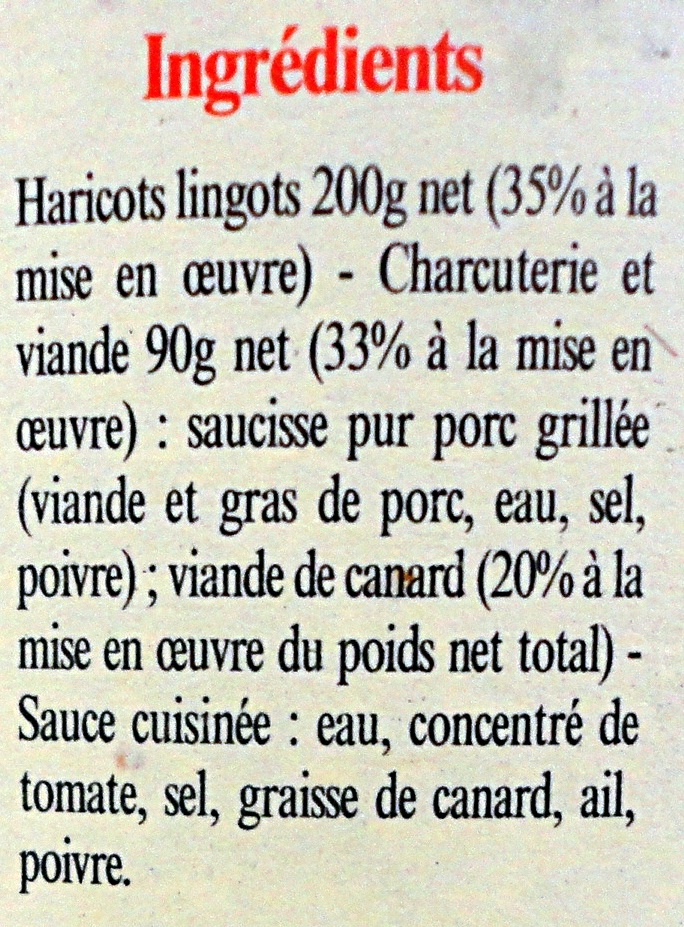 Cassoulet au Canard - Ingrédients - fr