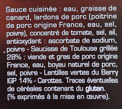 Saucisse de Toulouse aux Lentilles Vertes du Berry - Ingrédients - fr
