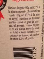 Cassoulet au Porc - Cuisiné à la Graisse de Canard - Authentique Cassoulet de Castelnaudary - Ingrédients