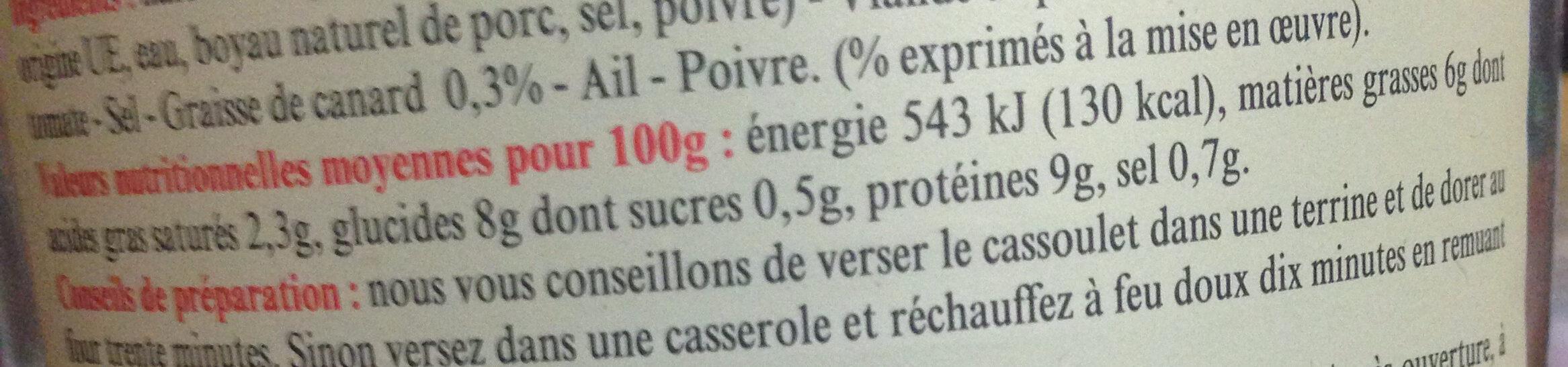 Cassoulet au Porc - Cuisiné à la Graisse de Canard - Authentique Cassoulet de Castelnaudary - Informations nutritionnelles