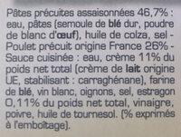 Poulet à l'Estragon et Pâtes torsades - Ingrédients - fr