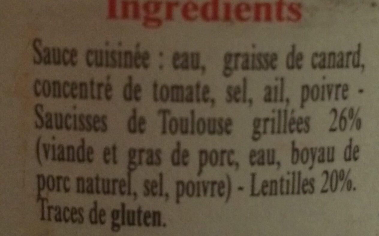 La Belle Chaurienne, Saucisse de Toulouse aux lentilles - Ingrediënten