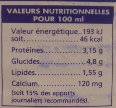 Lait Demi-Écremé - Nutrition facts - fr