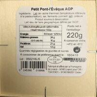 Petit Pont-L'Evêque Reflets de France - Inhaltsstoffe - fr