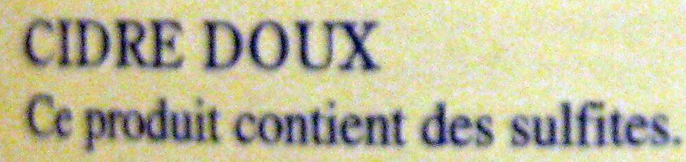 Cidre doux de Normandie IGP. - Ingredients - fr