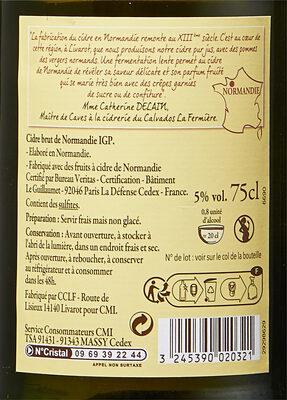 cidre brut de normandie - Ingrédients - fr