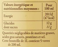 Pomme de Bretagne 100% pur fruit pressé - Informations nutritionnelles - fr
