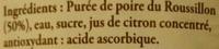 Poire Williams du Roussillon - Ingrédients - fr