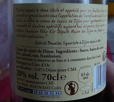 """70CL Creme Cassis 20 ° Reflets De France"" - Ingredienti - fr"
