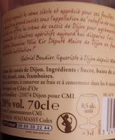 """""""70CL Creme Cassis 20 ° Reflets De France"""" - Valori nutrizionali - fr"""