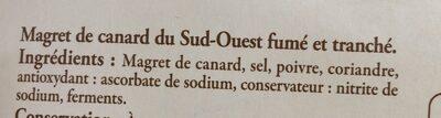 Magret de canard du Sud-Ouest fumé - Ingrédients - fr