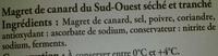 Magret de Canard du Sud-Ouest séché - Ingrédients