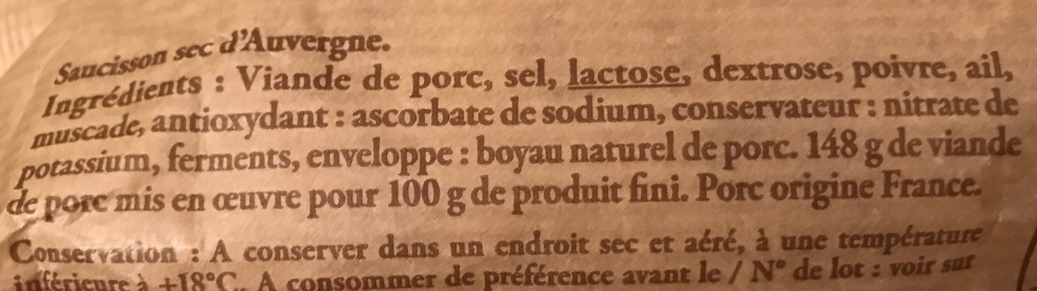 Saucisson - Ingrediënten - fr