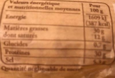 Saucisson - Voedingswaarden - fr