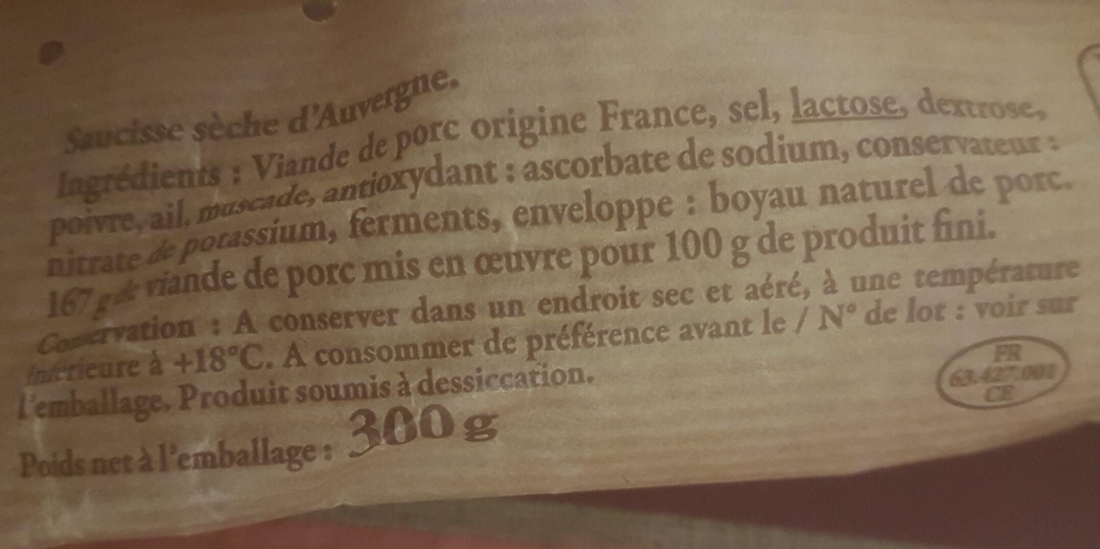 Saucisse sèche d'Auvergne - Ingrédients - fr