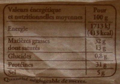 Saucisse sèche d'Auvergne - Voedingswaarden