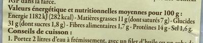 Ravioles du Dauphiné IGP Label Rouge - Nutrition facts