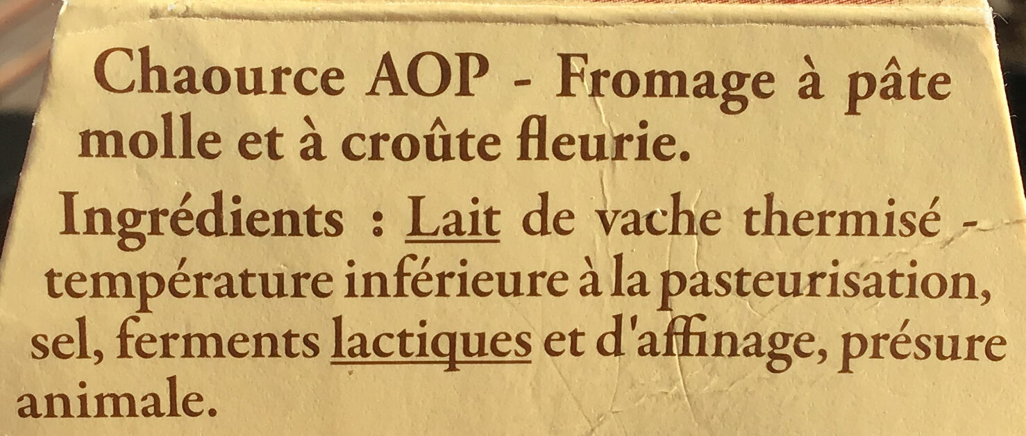 Chaource AOP - Ingredients - fr