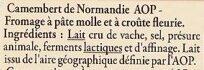 Camembert de Normandie AOP - Ingrediënten - fr