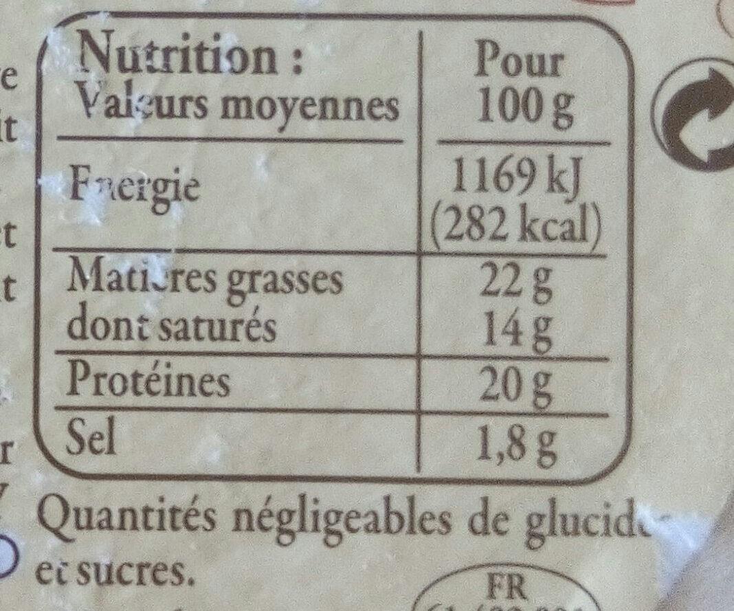 Camembert de Normandie AOP au lait cru - Voedingswaarden