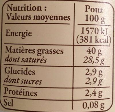 Crème Fraîche d'Isigny AOP (40% MG) - Voedingswaarden - fr