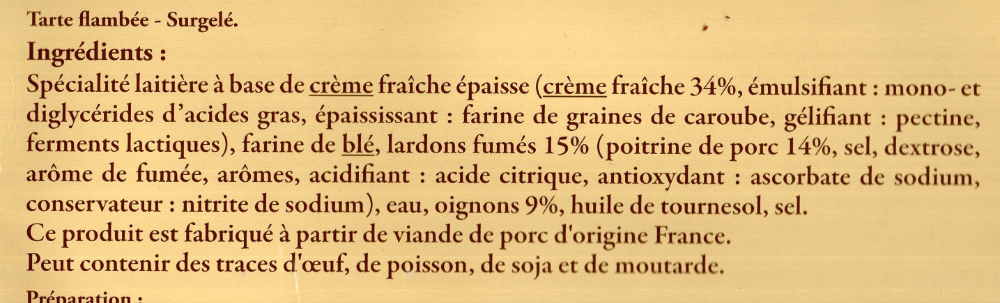 Flammekueche de Moselle - Ingrediënten - fr