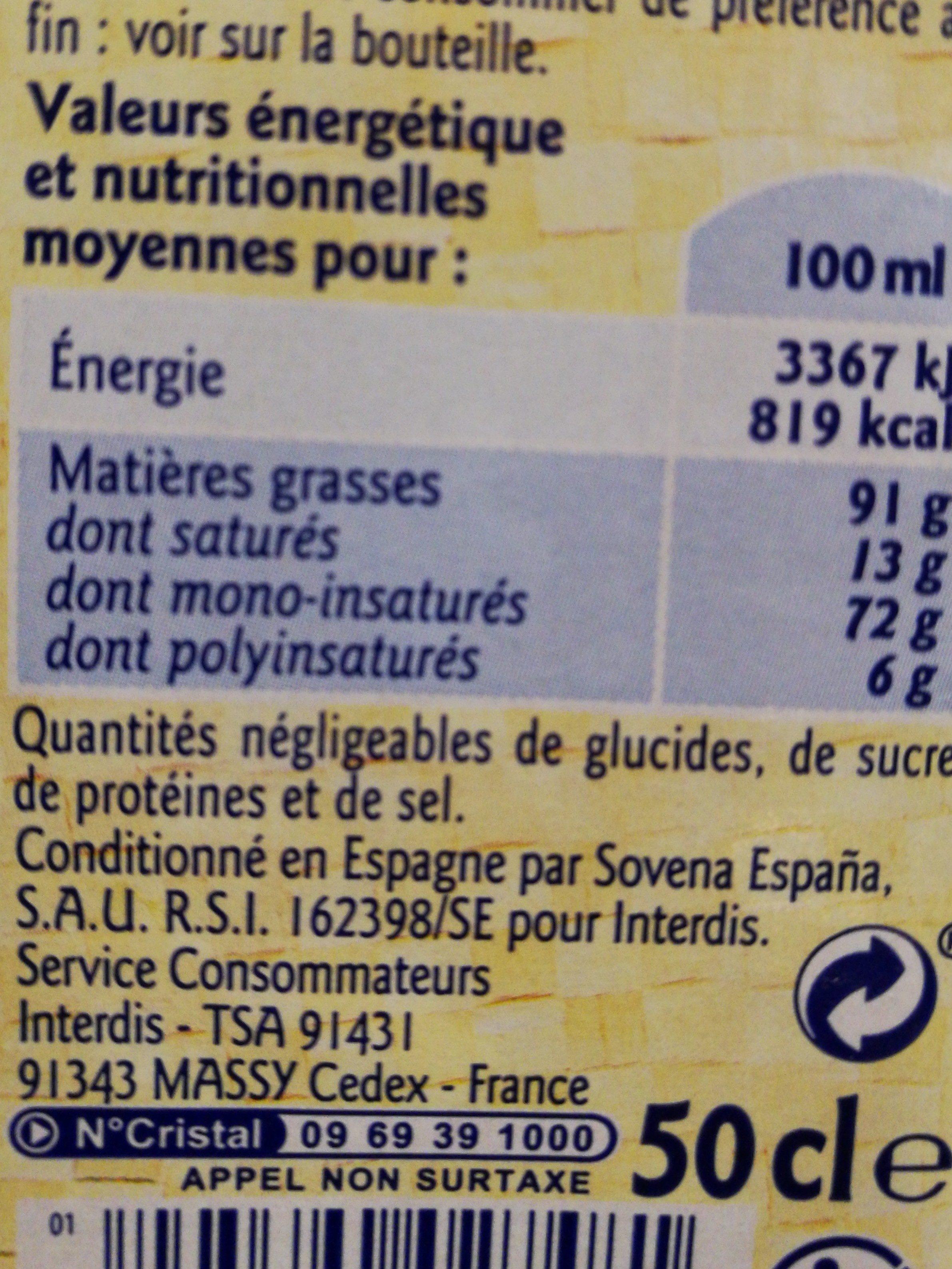 Huile d'olive vierge extra extraite à froid - Informations nutritionnelles - fr