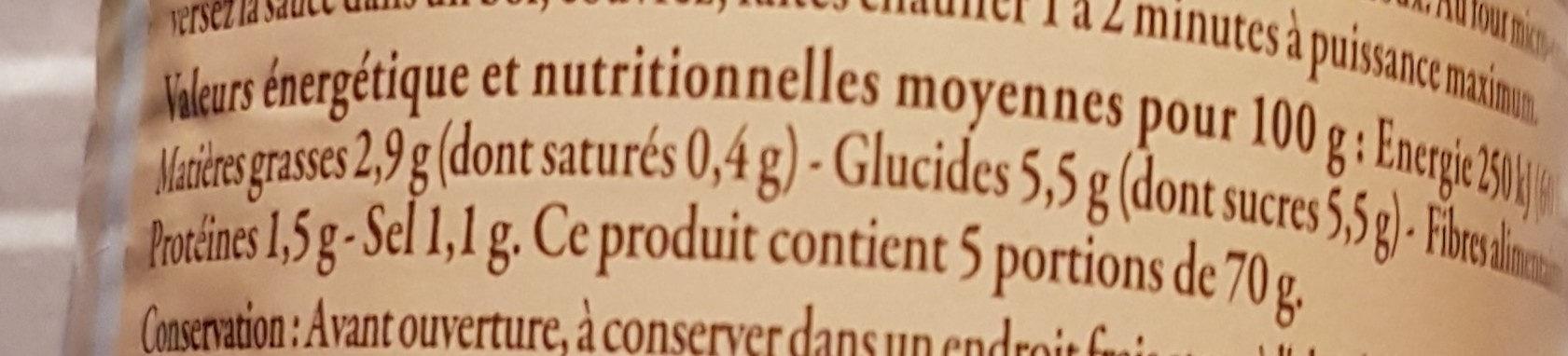 Sauce Provençale - Información nutricional - fr