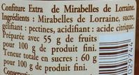 Confiture de mirabelles de Lorraine - Ingredients