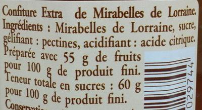 Confiture de mirabelles de Lorraine - Ingredientes