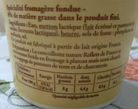 Cancoillotte fabriquée en Franche-Comté - Ingredients - fr