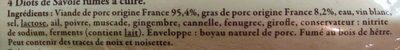 Diots de Savoie fumés à cuire - Ingrédients