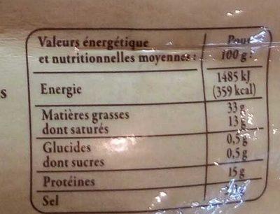 Diots de Savoie fumés à cuire - Informations nutritionnelles