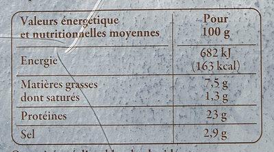 Truite fumée d'Aquitaine Elevée en eau douce MINI TRANCHES - Informations nutritionnelles - fr