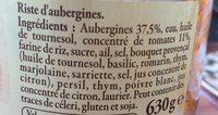 Riste d'Aubergines à la Provençale - Ingrediënten