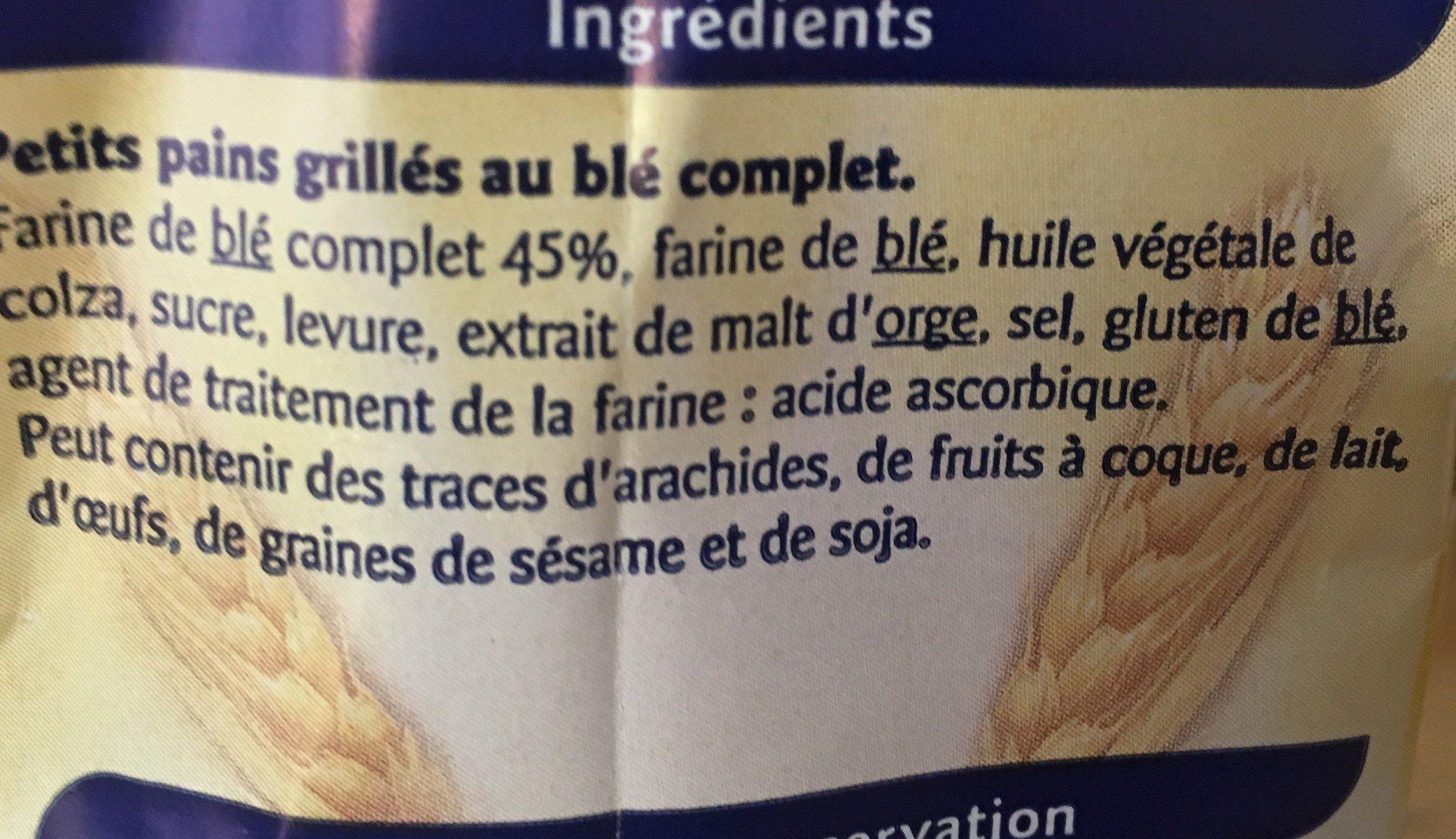 Petits pains grilles au blé complet - Ingrédients - fr