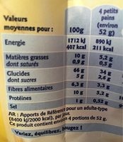 Petits pains grilles au blé complet - Informations nutritionnelles - fr