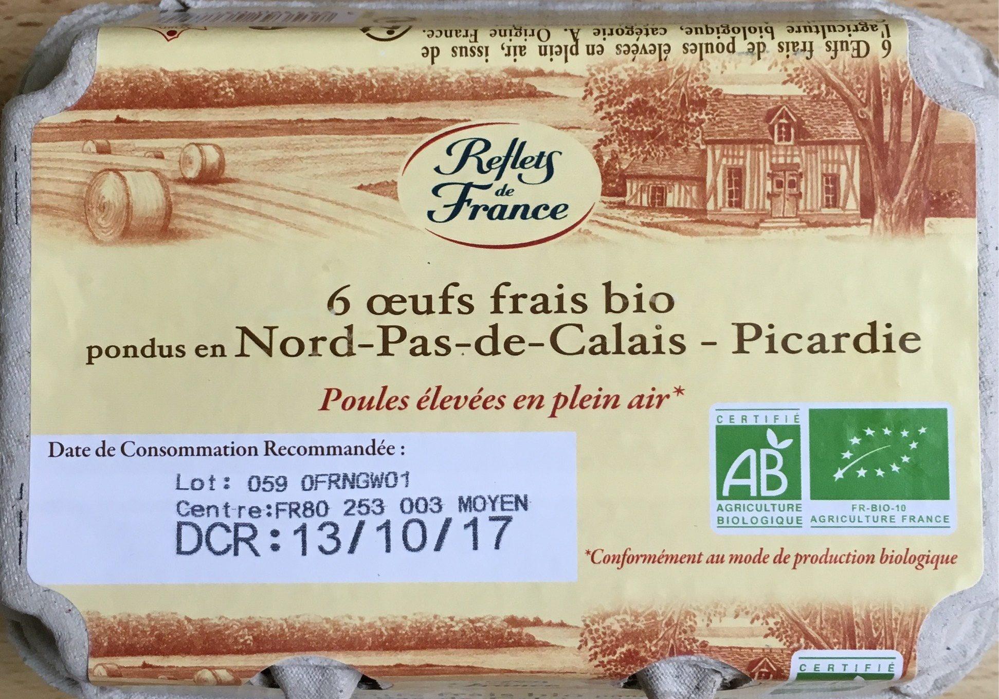 6 oeufs frais Bio pondus en Nord-Pas-De-Calais - Picardie - Product