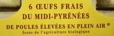 6 oeufs frais Bio pondus en Nord-Pas-De-Calais - Picardie - Ingredients