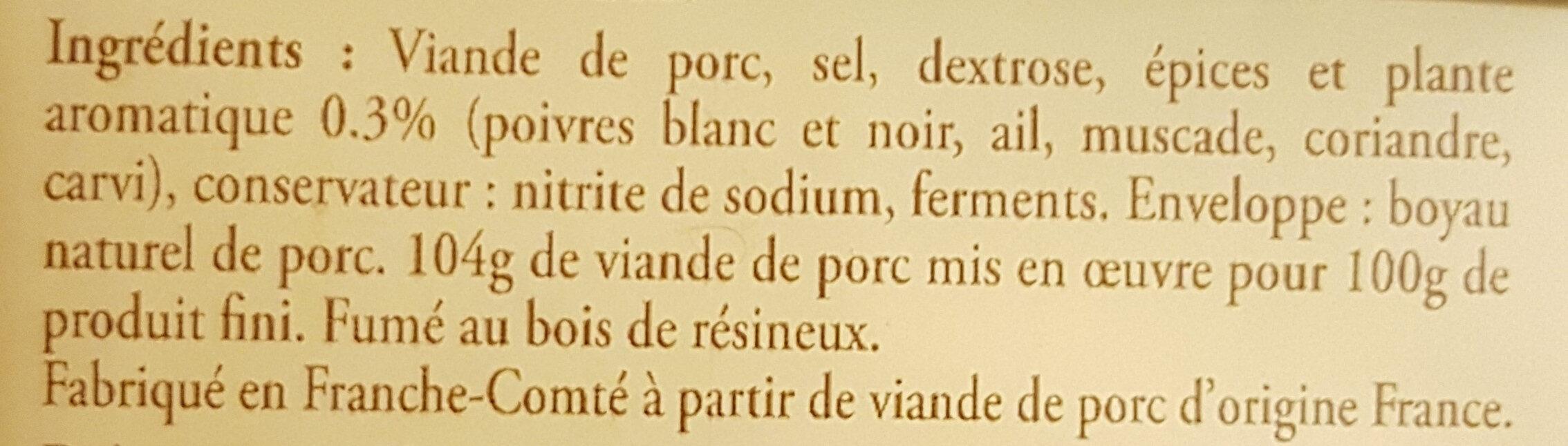 Saucisse de Morteau à cuire - Ingrédients - fr