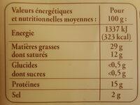 Saucisse de Morteau à cuire - Informations nutritionnelles - fr