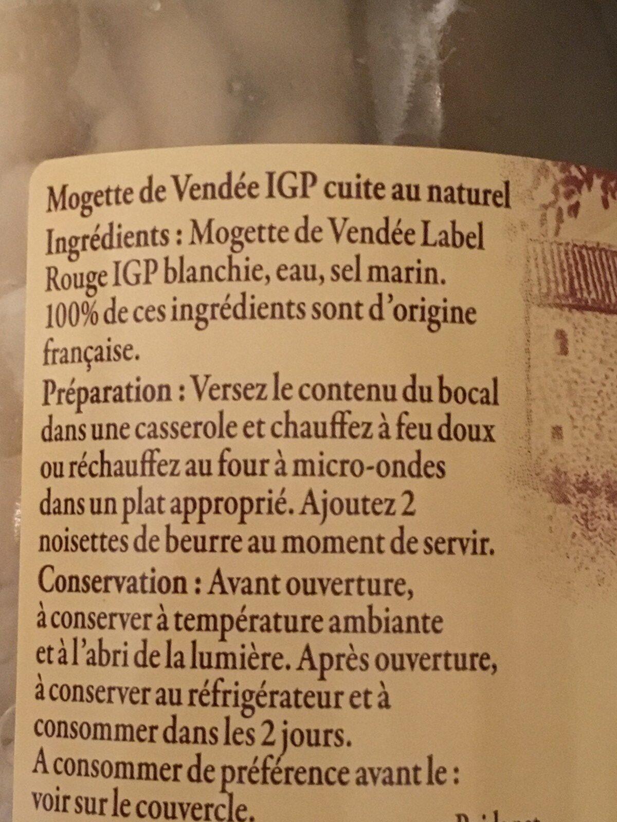 Mogette de Vendée - Ingrédients - fr