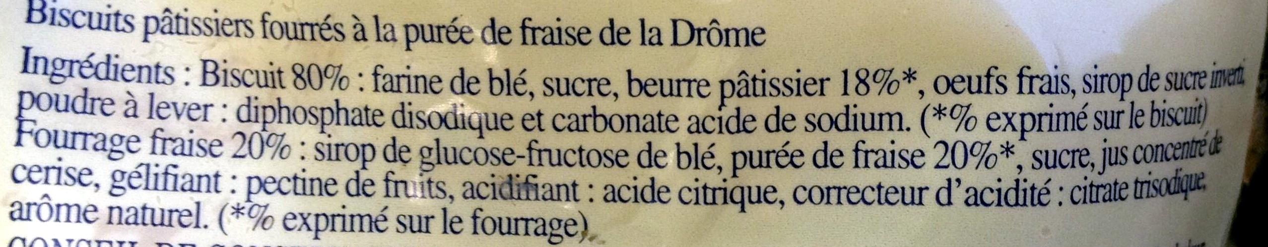 Lunettes de Romans fourrées à la fraise de la Drôme - Ingrédients - fr