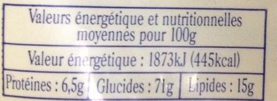 Lunettes de Romans fourrées à la fraise de la Drôme - Informations nutritionnelles - fr