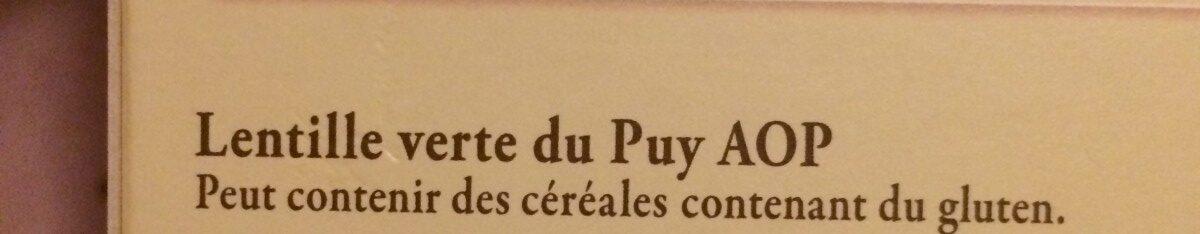 Lentille verte du Puy AOP - Ingrédients - fr