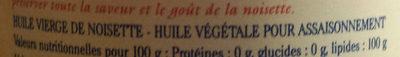 Huile vierge de noisette d'Aquitaine - Ingredienti - fr