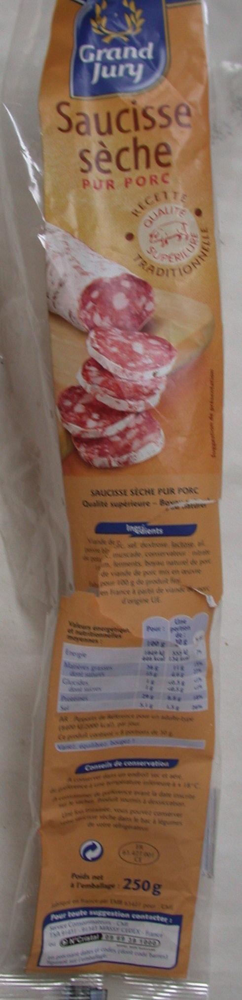 Saucisse Seche Droite pur porc - Produit