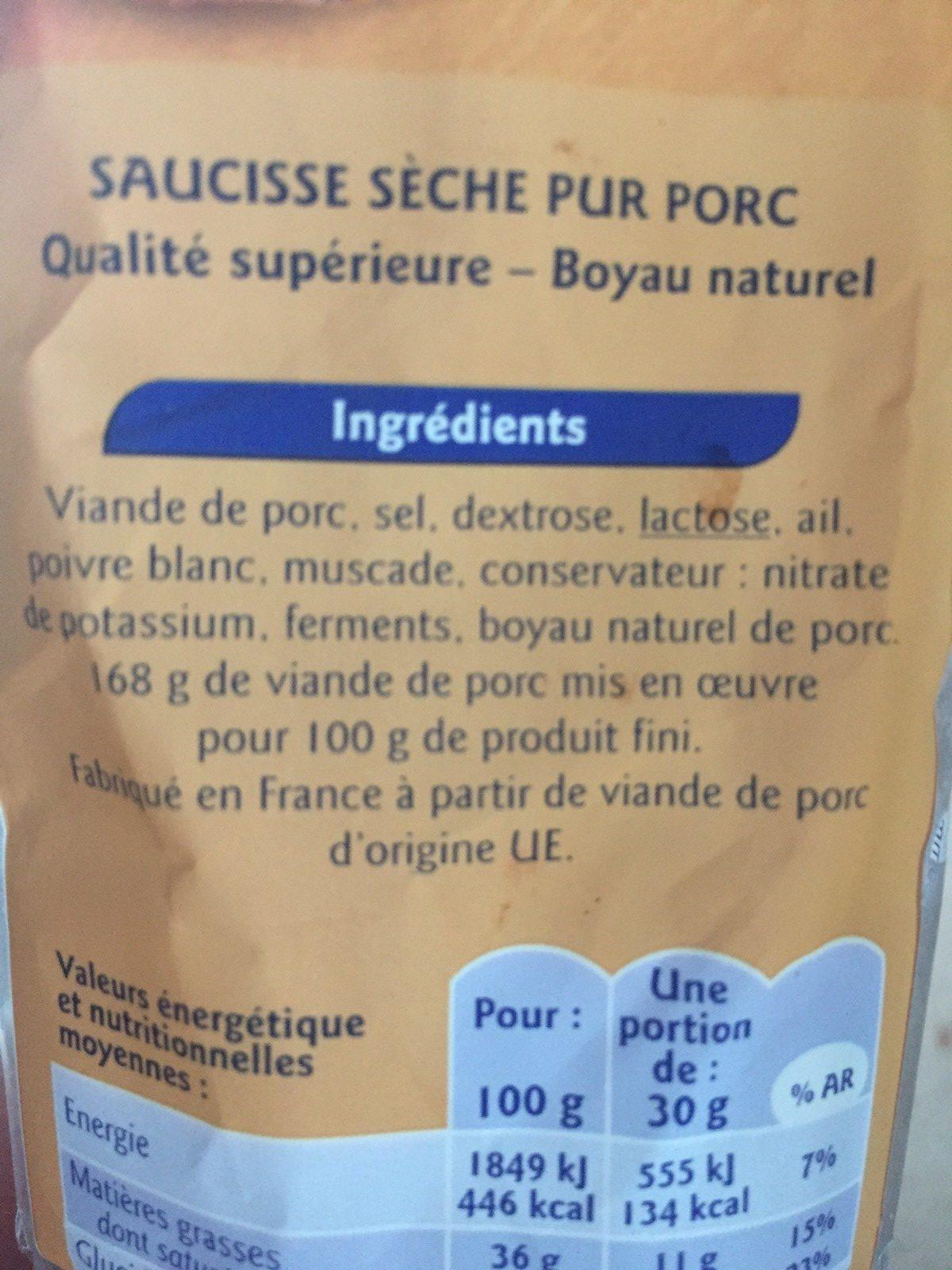 Saucisse Seche Droite pur porc - Ingrédients