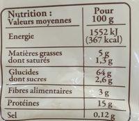Pâtes d'Alsace IGP - Spätzle - Voedingswaarden - fr